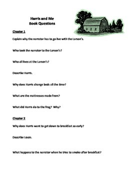 Harris and Me Book Unit - comprehension questions, writing prompts, vocabulary