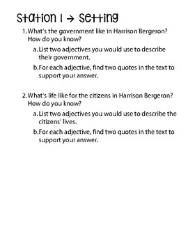 Harrison Bergeron 5 Analysis Stations and 1 CCSS Assessment