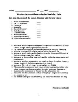 Harrison Bergeron Characterization Quiz