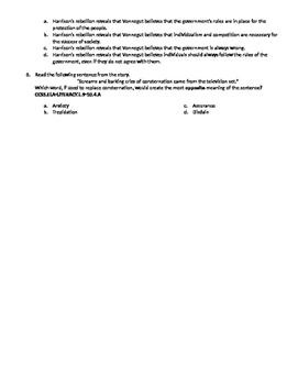 Harrison Bergeron Common Core Practice Test