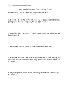 Harrison Bergeron Comprehension Questions