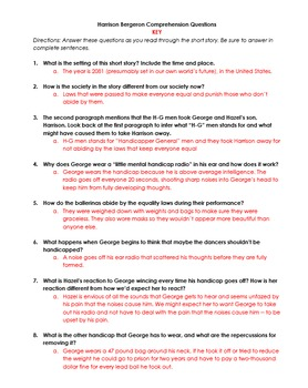 Harrison Bergeron Comprehension Questions Packet