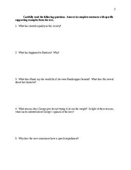 Harrison Bergeron - Comprehensive Study Guide - CCSS Aligned