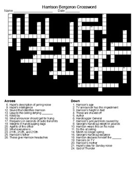 Harrison Bergeron Crossword and Word Search with KEYS by Lonnie ...
