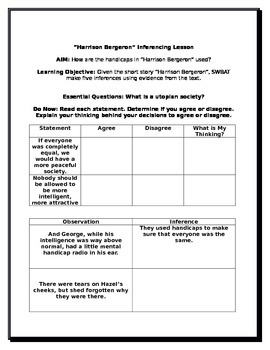 """""""Harrison Bergeron"""" Inferencing Lesson with Differentiated Activities"""