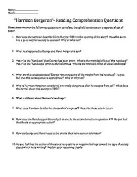 Harrison Bergeron Reading Comprehension Questions