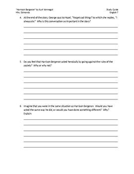 Harrison Bergeron Study Guide