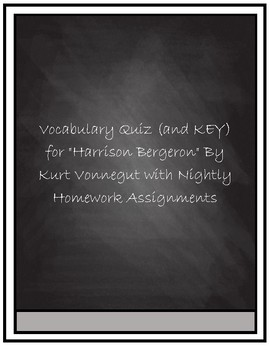 "Vocabulary Quiz- ""Harrison Bergeron"" by Kurt Vonnegut"