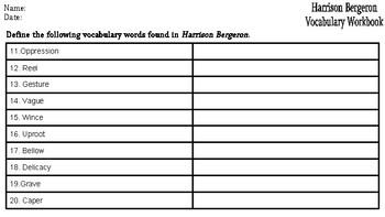 Harrison Bergeron: Vocabulary Workbook