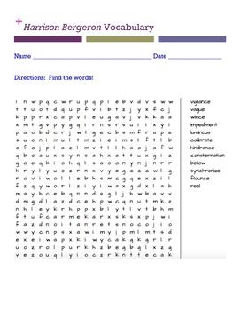 Harrison Bergeron Vocabulary (word search)