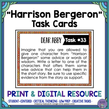 """Harrison Bergeron"" by Kurt Vonnegut Task Cards"