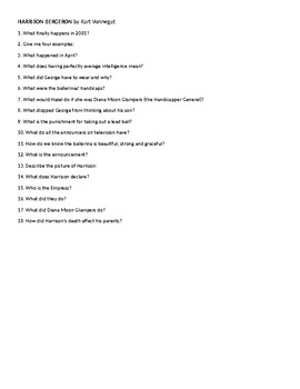 Harrison Bergeron by Vonnegut Questions and Answers