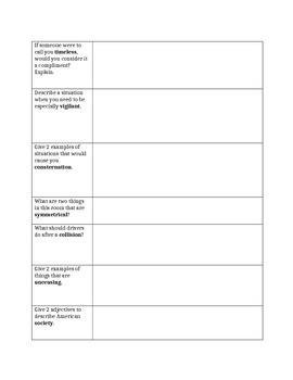 Harrison Bergeron- vocabulary by ESL lady | Teachers Pay Teachers