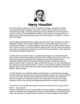 Harry Houdini Article Biography and Assignment