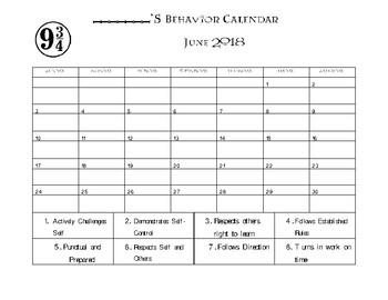 Harry Potter Behavior Calendar
