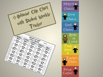 Editable Harry Potter Behavior Clip Chart with Student Tracking Form