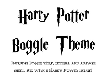 Harry Potter Themed Boggle