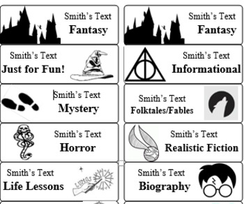 Harry Potter Book Labels