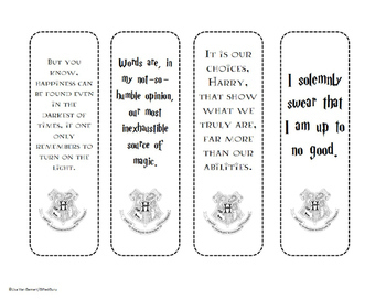 Nifty image regarding harry potter printable bookmark
