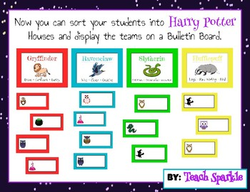 Harry Potter Bulletin Board: Sort your students into Houses or Owl Teams