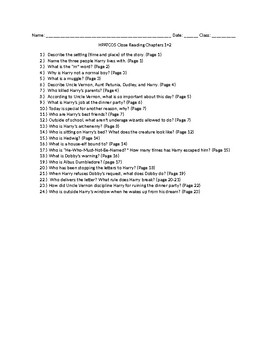 Harry Potter: Chamber of Secrets Close Reading Questions Chapters 1 and 2