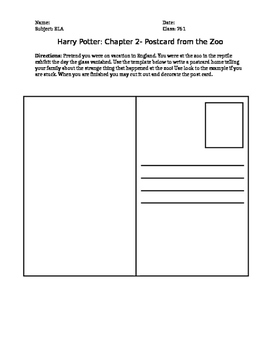 Harry Potter Chapter 2 Postcard Writing Activity