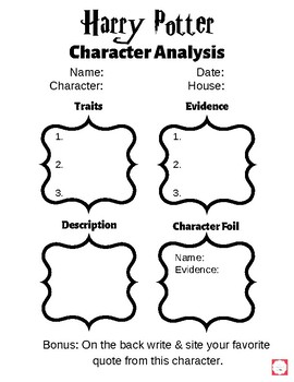 Harry Potter Character Analysis Pack