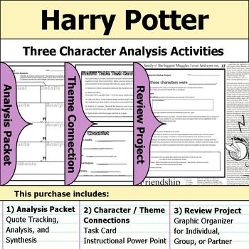 Harry Potter - Character Analysis Packet, Theme Connections, & Project