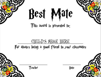 UPDATED Harry Potter Class Awards (Editable)