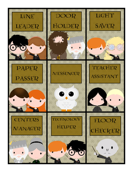 Harry Potter Class Job Cards