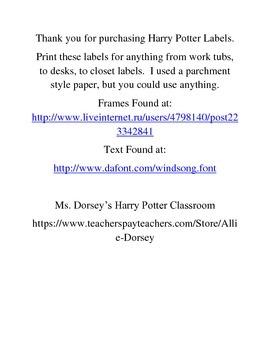 Harry Potter Classroom Labels