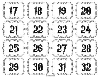 Harry Potter Classroom Number Cards
