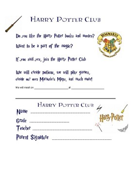 Harry Potter Club Form
