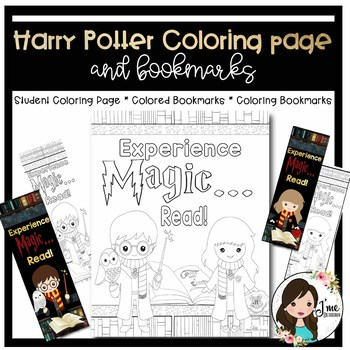Harry Potter Coloring Page And Bookmarks By J Me Designs Tpt