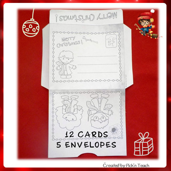 Harry DIY - 12 coloring Christmas Cards + 5 matching Envelopes