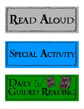 Harry Potter Daily Schedule Cards