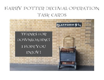 Harry Potter Decimal Operation Task Cards