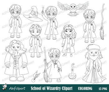Harry Potter Digital Clipart, Coloring clipart, Blackline
