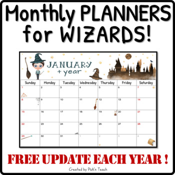 Wizard Monthly Calendar 2018 2019 Printable Version Planner