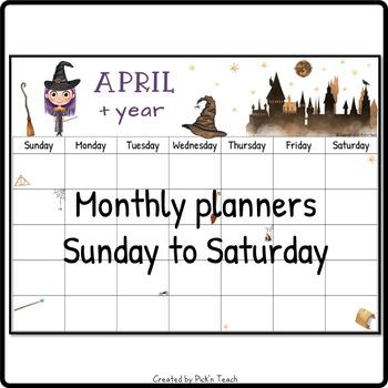 Wizard monthly calendar 2019 & 20 - PRINTABLE - Planner - FREE UPDATE each  year!