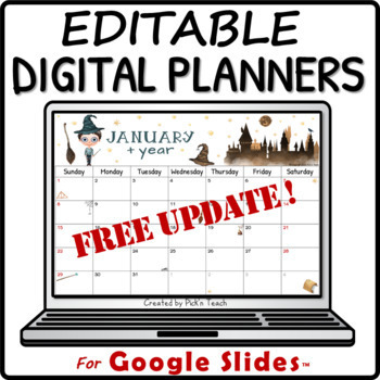 Wizard monthly calendar 2018-2019 - EDITABLE - Planner - Back to school