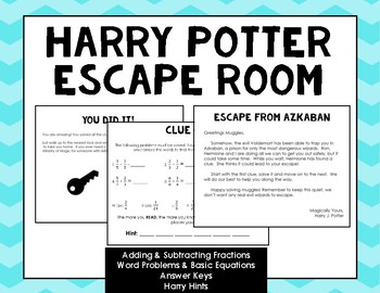 Harry Potter Fractions Escape Room