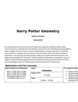 Harry Potter Geometry Unit
