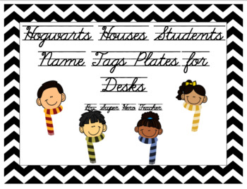 Harry Potter Hogwarts House Name Tags/Plates for Desk