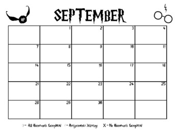 Harry Potter Homework Calendar (2018-2019)