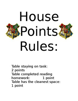 Harry Potter House Points