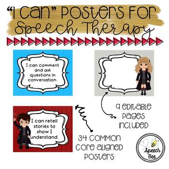 "Harry Potter ""I Can"" Statements for Speech Therapy--Editable!"