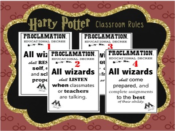 Harry Potter INSPIRED Classroom Rules Posters