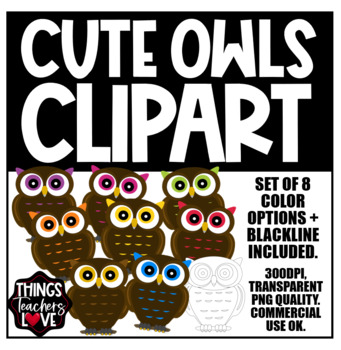 Wizards Inspired Clipart | RAINBOW OWLS | 9 Images | 8 Colors + BW