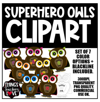 Wizards Inspired Clipart | RAINBOW SUPERHERO OWLS | 8 Images | 7 Colors + BW